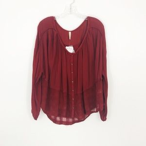 Free People Rainy Days Swing Top NWT Cranberry S